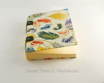 Diary, format A6, binding Coptic, covered with multicolored feathers, notebook, book of pregnancy