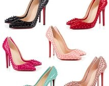 Handmade custom made  studded spiked women pointed toe pumps with red sole or pink sole