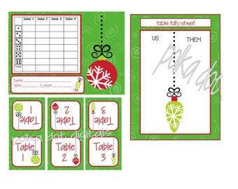 BUY 2 Get 1 Free CHRISTMAS Ornaments Complete Set Bunco Score Card Sheet Matching Table Numbers Tally Sheet Printable Digtal File Download