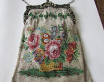 Antique Beaded Purse Vintage Floral Beaded Evening Bag