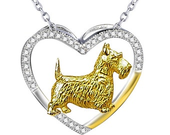Sterling Silver Open Heart Scottish Terrier Necklace