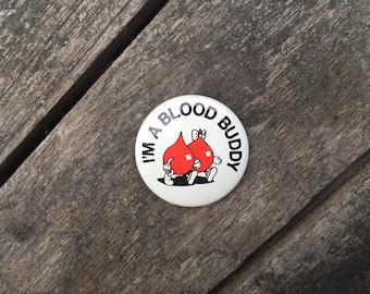 "60s RARE ""I'm A Blood Buddy"" blood donor donation pin kawaii vampire blood cartoon"