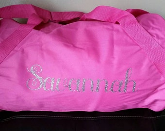 Personalized duffle bag, gym bag, dance bag, sports bag.  Many color options.