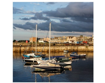 Nautical Photography, Sail Boats, Harbor, Scotland Photography, Fine Art Photography - Fisherrow Harbor, Dusk