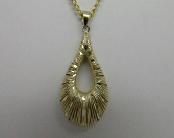 14K Solid Yellow Gold Puffy Pear Shape Pendant