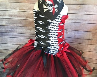 Pirate costume - pirate tutu - pirate dress - tutu dress - halloween costume - red and black tutu - red tutu dress - girls dress up outfit