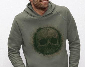 "Hooded Sweatshirt Men Khaki cotton printed visual bio in fiber ""Vanity"""