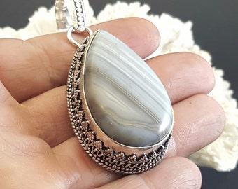 HUGE Silver Banded Agate Pendant