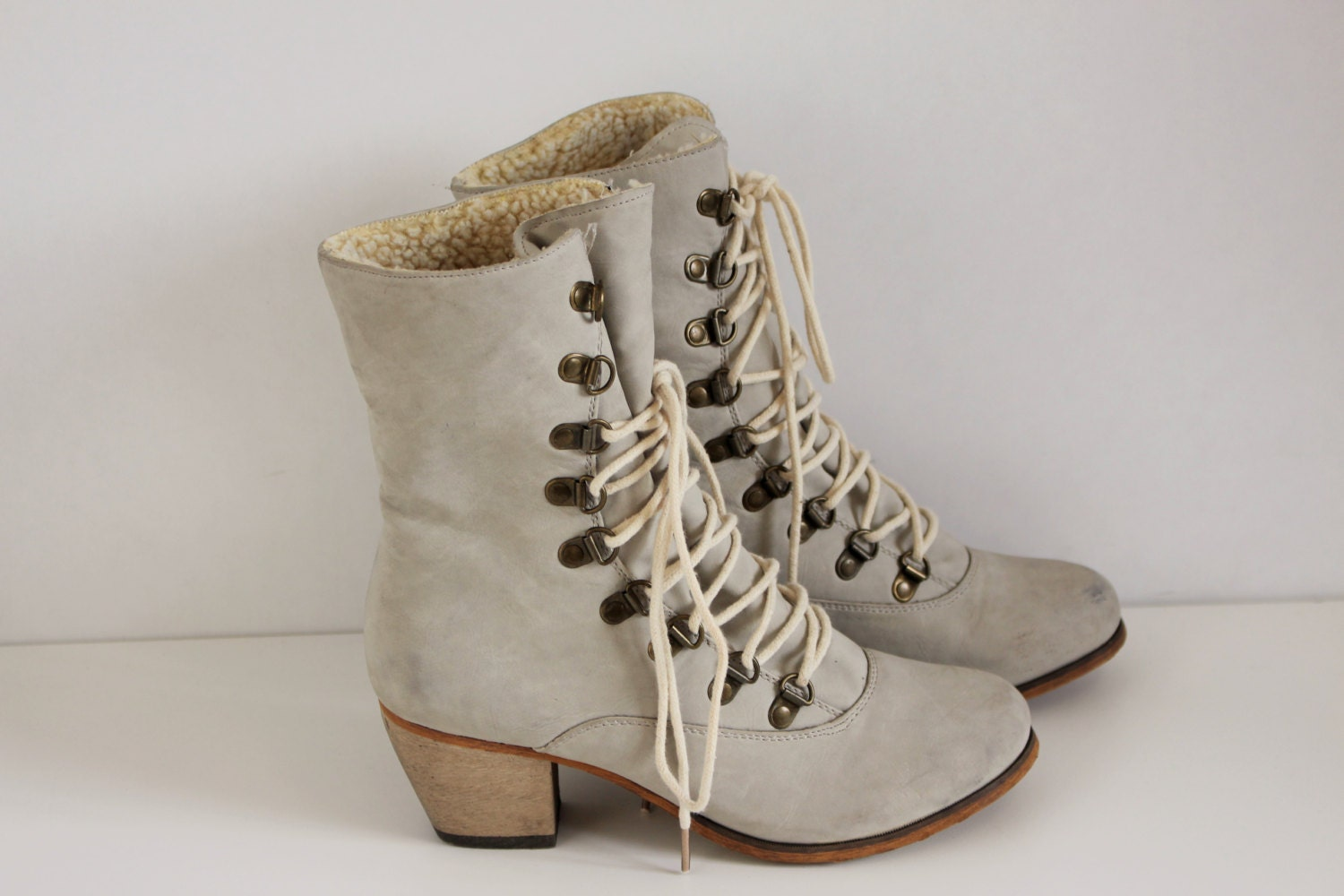 Grey Lace-up Womens boots Light Gray Granny boot Victorian