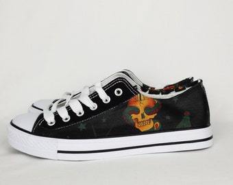 Custom shoes, women shoes, Rockabilly, tattoo, skull shoes, pinup girl, alternative,rockabilly shoes, tattoo clothing, steampunk, converse