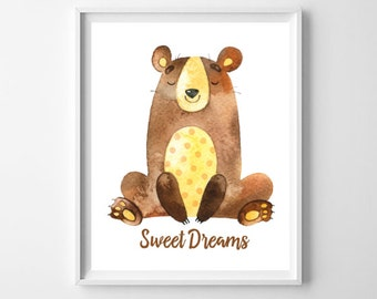 Nursery Bear Art Print, Printable Wall Art, Sweet Dreams Print, Nursery Decor, Woodland Nursery