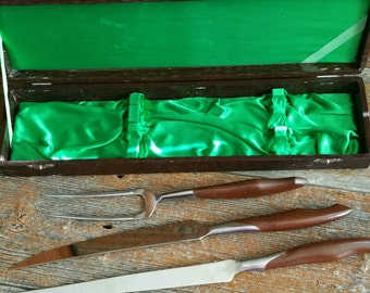 Vintage Stainless Steel Meat Carving Set, Made in Japan Meat Carving Tools, Meat Carving Knife, Fork Set,