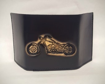 Motor Cycle Bifold or Trifold Leather Wallet B1815