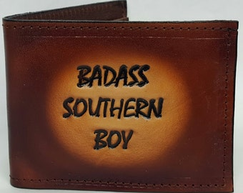 Badass Southern Boy Bifold or Trifold Leather Wallet B1805