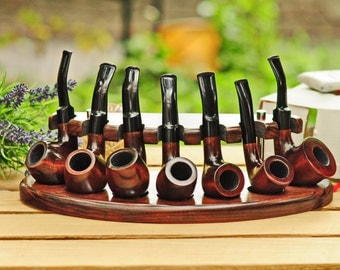 Wooden pipe stand for seven Smoking pipes / Handmade from Ukraine / NEW / Smoking pipes