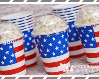 4th of July  Party Cups-Memorial Day Party Cups and Lids-Set of 8