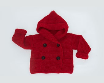 Knit Baby Sweater Red Hooded Cardigan Knitted Jacket for