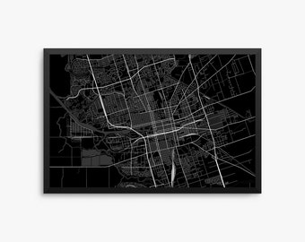 Stockton City Street Map, Stockton California USA, Modern Art Print, Office Decor, Decor, Stockton Decor, Stockton Map, Stockton Poster