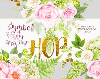 Wedding Watercolor Bouquets, Hop, Peonies flowers, Fern, Hand painted clipart, floral invitations, greeting card, pink, green, digital print