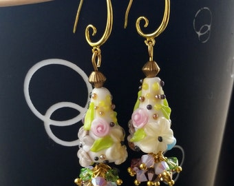"earrings, lampwork ""Botany 6"""