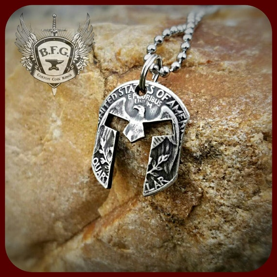 silver spartan helmet coin pendant necklace from a 1964 silver