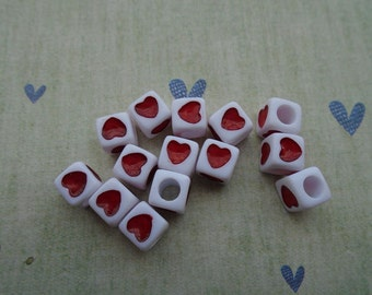 200Pcs 7x7MM Red Heart Plastic/Acrylic Cube Bead With 3.0MM Hole ---SS1025