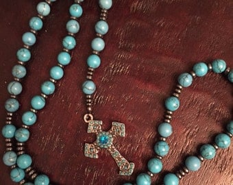 Turquoise and agate rosary