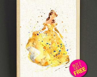 Disney Princess Belle Art, Beauty and the Beast Poster, Watercolor Art Print, Watercolor Painting, Kids Room Wall Art, Nursery Decor -477