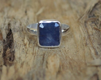 Cushion Cut Blue Sapphire Gemstone 925 Sterling Silver Ring Size 6, Artisan Ring Jewelry,  September Birthstone Sapphire Gemstone Ring 6.5