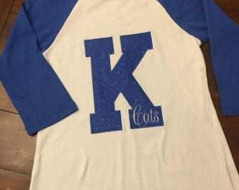 Kentucky wildcats raglan tee, K shirt