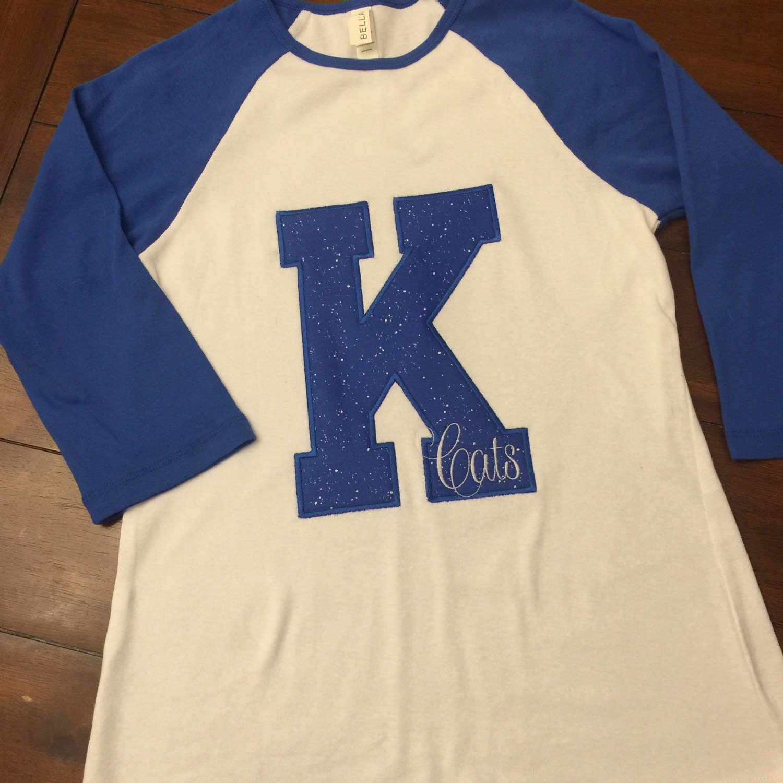 Kentucky wildcats raglan tee k shirt by hillstoheelsdesigns for Custom t shirts lexington ky
