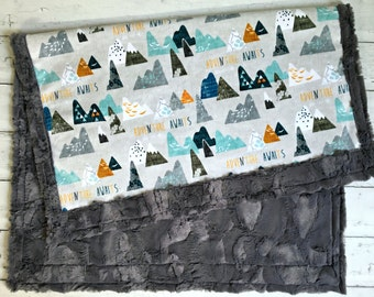 Baby Blanket -Designer Adventure Mountains MInky - Grey