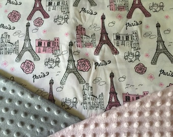 Personalized Minky Baby Blanket, Pink Paris Eiffel Tower Minky Baby Blanket