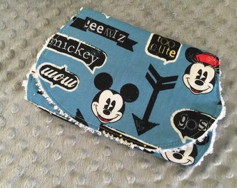 Personalized ORGANIC Bamboo or Minky Burp Cloth / Spit Rag / Disney / Minnie Mouse / Mickey Mouse Arrows