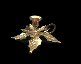 Brass Chamberstick Christmas Holly Motif