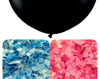 XL Gender reveal balloons for boy or girl 36in BLACK balloon with 2 separate confetti