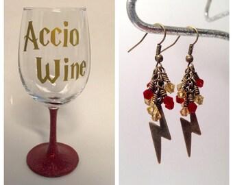 Accio Wine and Harry Potter Lightning Bolt Earrings bundle, stemless or stemmed