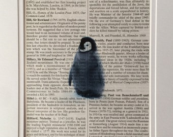 Penguin Book Print -  Recycled Vintage Dictionary Page, Home Decor, Poster, Art, Animal Lover
