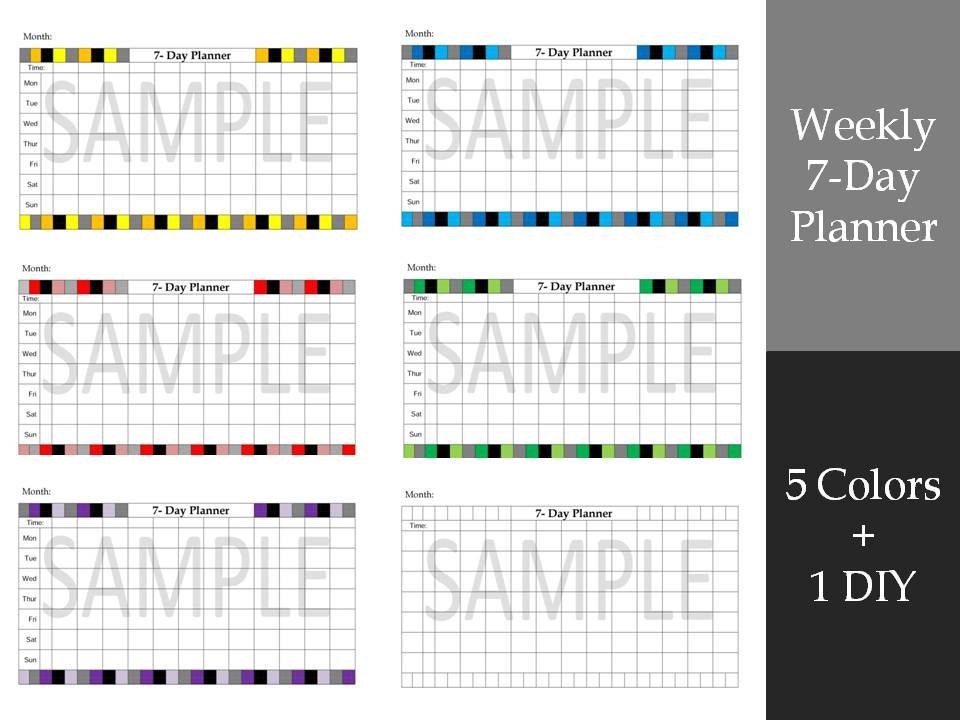 A5 Bullet Journal Weekly 7 Day Planner Printable Template