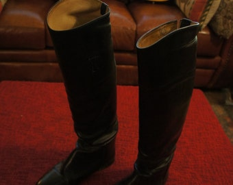 Tall Vintage Riding Boots, black
