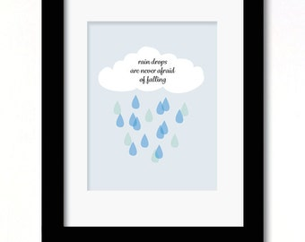 A4 rain drops print available in boy or girl versions
