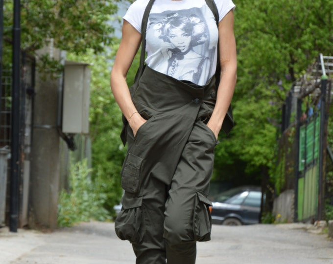 Military High Waist Pants, Loose Drop Crotch Harem Pants, Casual Extravagant Wide Trousers With Pockets By SSDfashion