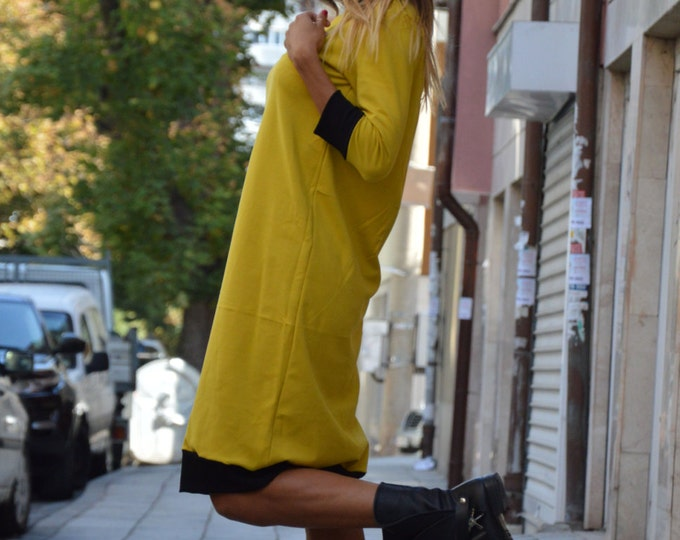 Extravagant Woman Mustard Little Dress, Elegant Tunic Dress, Daywear Dress, Party Midi Dress By SSDfashion