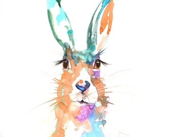 hare painting,buunt painting,rabbit painting,large painting,moder art,watercolor painting,large hare watercolor paitning BUY 2 GET 1 FREE
