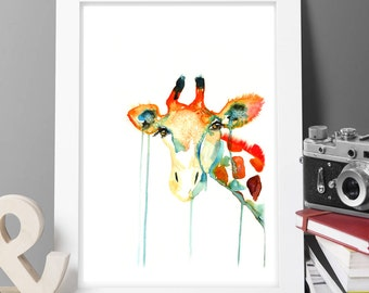 Giraffe Contemporary Watercolour ART PRINT Original LIMITED Edition Signed Watercolour Thick 300 gsm Paper Free Shipping To United Kingdom