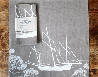 Coastal Collection - Hand Printed Linen Napkins - Set of Two