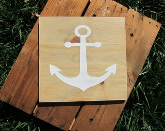 Anchor Silhouette Rustic Wood Sign