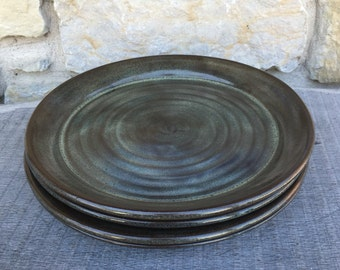 Pottery dinner plates set of 4 wheel thrown dinner platters in Iron Lustre blue grey glaze
