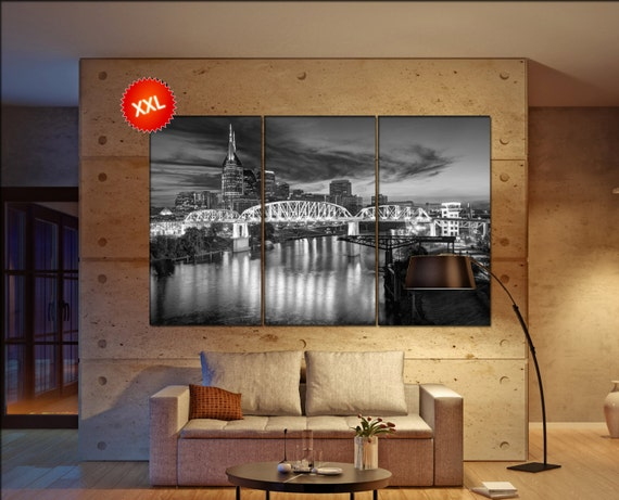 Nashville wall decor art  Nashville  black white  Nashville canvas wall art  canvas wall art
