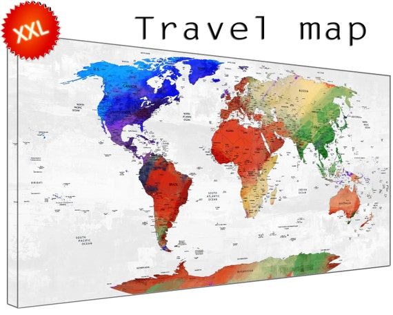 travelmap canvas wall art art print large  travelmap home Office Decor print on canvas wall art